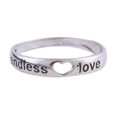 Sterling silver band ring, 'Heartfelt Promise' - Sterling Silver Love-Themed Band Ring from India