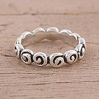 Sterling silver band ring, 'Swirling Charm' - Sterling Silver Spiral Motif Band Ring from India