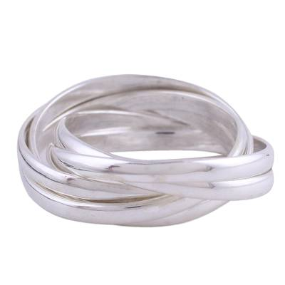 Sterling silver multi-band ring, 'Infinite Allure' - Artisan Crafted Sterling Silver Indian Ring
