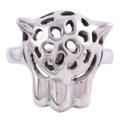 Sterling silver cocktail ring, 'Wild Jaguar' - Sterling Silver Jaguar Cocktail Ring from India
