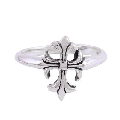 Handcrafted Sterling Silver Cross Cocktail Ring from India