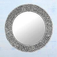 Glass mosaic wall mirror, 'Round Shimmer' - Circular Shimmering Mosaic Wall Mirror from India