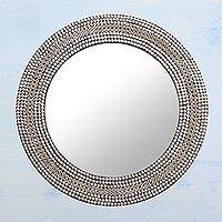Iron mosaic wall mirror, 'Shimmery Allure' - Circular Shimmering Metal Wall Mirror from India