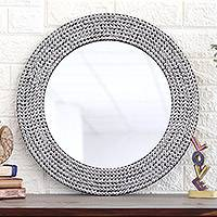 Iron mosaic wall mirror, 'Silvery Shine' - Circular Shimmering Metal Wall Mirror from India