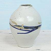 Ceramic vase, 'Art Waves' - Handcrafted Ceramic Vase in White and Blue from India