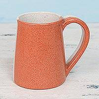 Ceramic mug, 'Cheerful Morning' - Handcrafted Ceramic Mug in Orange and Beige from India