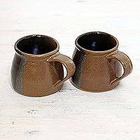 Ceramic teacups, 'Time for Tea' (pair) - Two Handcrafted Ceramic Cups in Black and Brown from India