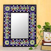 Ceramic mosaic wall mirror, 'Sunny Leaves' - Ceramic Wall Mirror with Sun and Leaf Mosaic from India