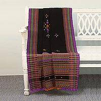 Handwoven throw, 'Midnight Mirror' - Handwoven Throw Blanket with Glass Accents from India