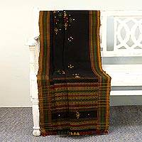 Handwoven throw, 'Mysterious Mirror' - Handwoven Throw Blanket in Coal with Mirrors from India
