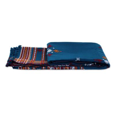 Woven throw blanket, 'Azure Mirror' - Handwoven Floral Throw Blanket from India