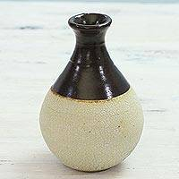 Ceramic vase, 'Ancient Synergy' - Handcrafted Ceramic Vase with Crackled Finish from India