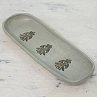 Ceramic tray, 'Harvest Delight' - Handcrafted Ceramic Tray from India