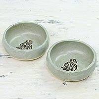 Small ceramic bowls, 'Harvest Delight' (pair) - Two Small Handcrafted Ceramic Bowls from India