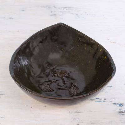 Ceramic bowl, 'Leafy Dance' - Handcrafted Ceramic Artisan Bowl from India