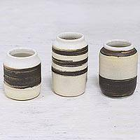 Ceramic decorative jars, 'Complementary Stripes' (set of 3) - Three Handcrafted Painted Ceramic Jars from India