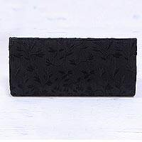 Embroidered clutch evening bag, 'Midnight Shimmer' - Black Embroidered Clutch Bag with Inner Pocket from India