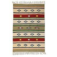 Wool area rug, 'Sunset Memories' (4x6) - Handmade Wool Multicolored Rug from India (4x6)