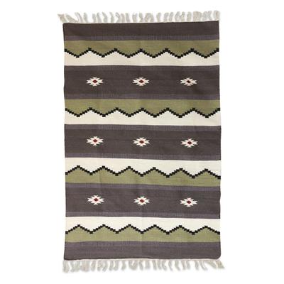 Wool rug, 'Geometric Night' (4x6) - 4x6 Handwoven Wool Area Rug from India