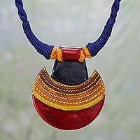 Ceramic pendant necklace, 'Kutch Sunset' - Ceramic and Cotton Pendant Necklace in Blue from India
