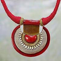 Ceramic pendant necklace, 'Ancient Glow' - Ceramic and Cotton Pendant Necklace in Red from India