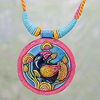 Ceramic pendant necklace, 'Nightingale Song' - Colorful Ceramic and Cotton Bird Pendant Necklace from India