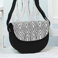 Cotton blend shoulder bag, 'Bright Night' - Black and Ivory Shoulder or Sling Bag from India
