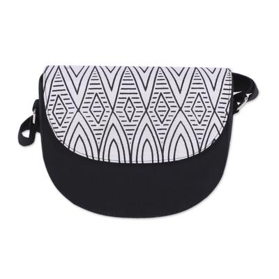 Black and Ivory Shoulder or Sling Bag from India
