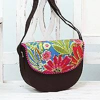 Cotton blend shoulder bag, 'Tropical Adventure' - Multicolored Floral Shoulder or Sling Bag from India