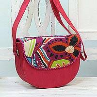 Cotton blend shoulder bag, 'Geometric Flower' - Pink Shoulder or Sling Bag with Geometric Floral Print