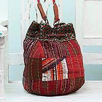 Cotton shoulder bag, 'Patchwork Charm' - Patchwork Cotton Drawstring Shoulder Bag from India