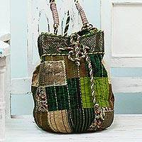 Cotton shoulder bag, 'Patchwork Delight' - Cotton Patchwork Drawstring Shoulder Bag from India