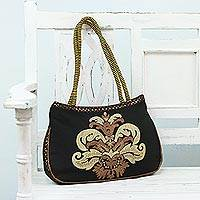 Embroidered shoulder bag, 'Indian Elegance' - Black Shoulder Bag with Embroidered Zari Motif from India