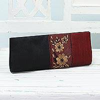 Embroidered clutch handbag, 'Flowery in Black and Crimson' - Black and Crimson Clutch Evening Handbag from India