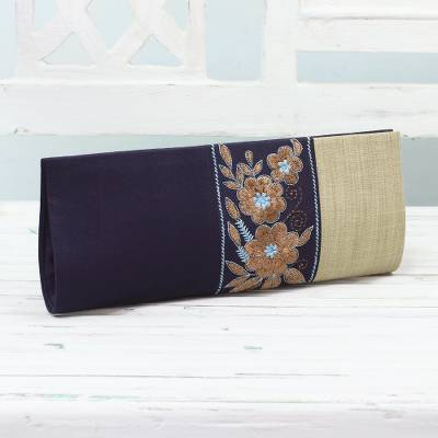 Embroidered clutch handbag, Flowery in Navy and Buff