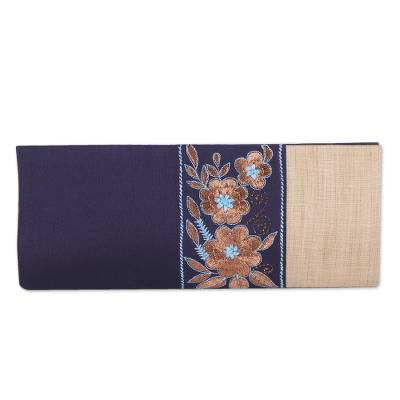 Navy and Buff Clutch Handbag with Floral Pattern from India