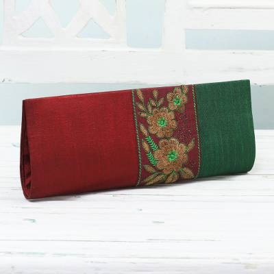 Embroidered clutch handbag, 'Flowery in Crimson and Emerald' - Crimson and Emerald Clutch Handbag with Floral Design