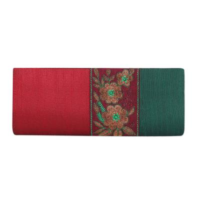 Crimson and Emerald Clutch Handbag with Floral Design