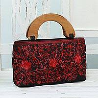 Embroidered handbag, 'Rose Elegance' - Embroidered Floral Handle Handbag from India