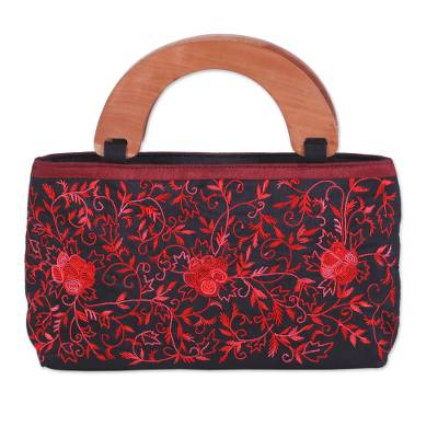 Embroidered Floral Handle Handbag from India