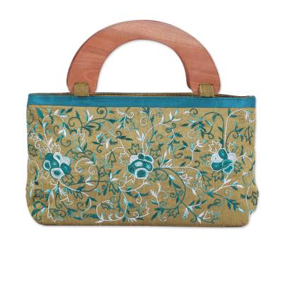 Handle Handbag with Floral Embroidery from India