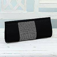 Clutch evening bag, 'Moonlight Sparkle' - Black and Silver Evening Clutch Handbag from India