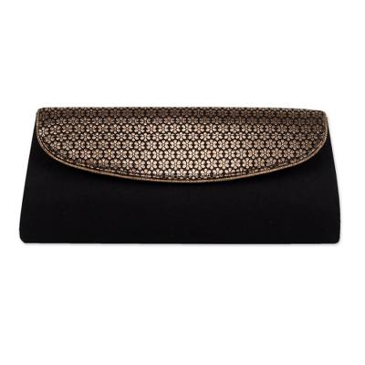 Black Clutch Handbag with Floral Pattern from India