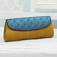 Clutch evening bag, 'Amber Field' - Amber and Cyan Clutch Handbag with Floral Pattern from India