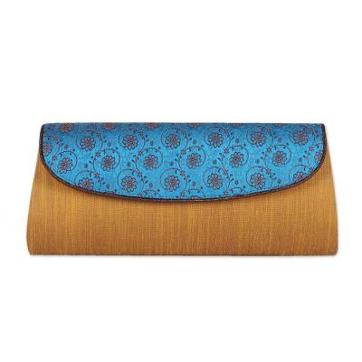 Amber and Cyan Clutch Handbag with Floral Pattern from India