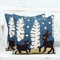 Cotton cushion covers, 'Deer in Love' (pair) - Two Embroidered Cotton Cushion Covers with Deer from India