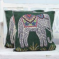Cotton cushion covers, 'Floral Elephants' (pair) - Pair of Embroidered Green and White Elephant Cushion Covers