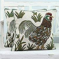 Cotton cushion covers, 'Rooster Crow' (pair) - Two Embroidered Cushion Covers with Roosters from India