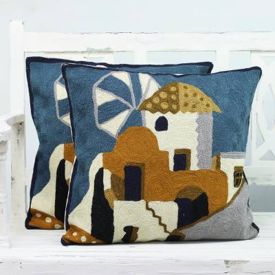 Cotton cushion covers, 'House of the Lords' (pair) - Two Village-Themed Embroidered Cushion Covers from India