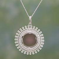 Smoky quartz pendant necklace, 'Sparkling Sun' - Smoky Quartz and Sterling Silver Pendant Necklace from India